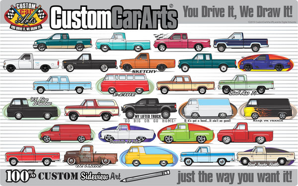 Custom Art T-Shirt 1961 1962 63 64 1965 66 1966 Ford F-100 F100 F-250 Mercury M-100 Pickup Truck Short Bed Flareside Styleside Twin I-Beam