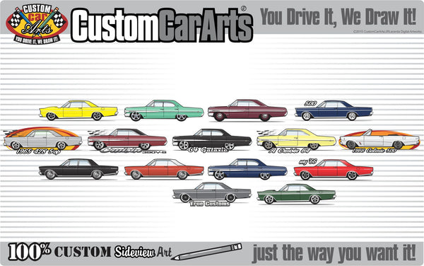 Custom Art T-Shirt inspired on 64 1964 Ford Galaxie 500 XL 2-door coupe hardtop Car