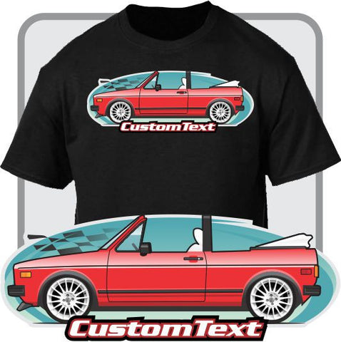 Custom Art T-Shirt 80-82-84-87 VW Volkswagen Rabbit Golf MK1 Convertible Cabrio
