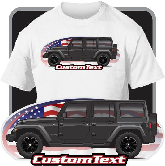 Custom Art T-Shirt 2007-15 JK Jeep Wrangler Shara Rubicon Unlimited 4-door