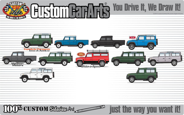 Custom Art T-Shirt Land Rover 110 1993 94 95 96 1997 Defender One Ten Country Wagon