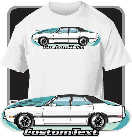 Custom Art T-Shirt inspired on 1970-1977 Ford Maverick 4 door LDO Sedan car