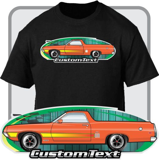 Custom Car Art T-Shirt 1970 1971 Ranchero 500 GT Squire Truck not affiliated with ford