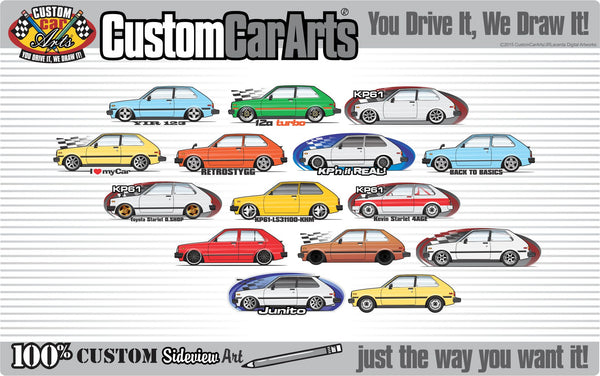 Custom Art T-Shirt for 1981 1982 1983 1984 84  KP60 KP61 Toyota Starlet Coupe 3-door 1000 DX GL XL SE