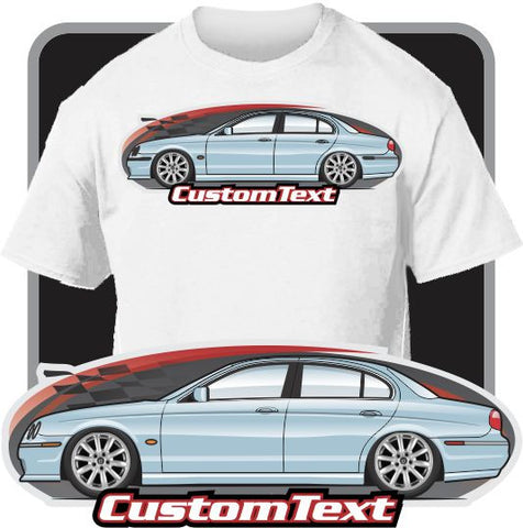 Custom Art T-Shirt for 2000 01 02 03 04 05 06 07 2008 Jaguar S-Type R 4.2 V8 supercharged