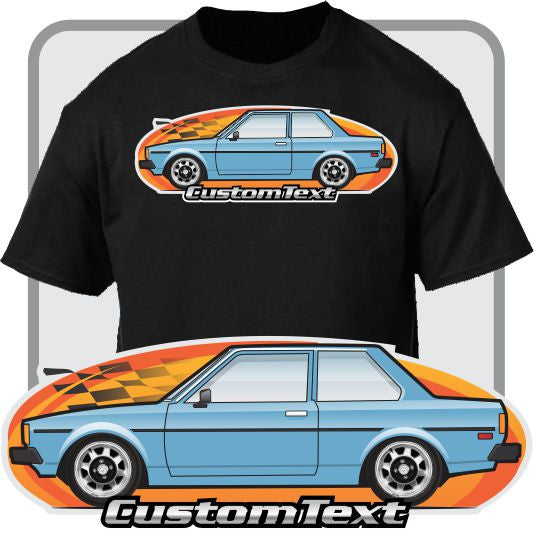 Custom Art T-Shirt for 80 81 82 Ke70 E-71 E72 Toyota corolla 2 door Sedan coupe