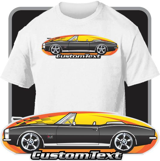 Custom Art T-Shirt for 1967 Chevy Chevrolet Camaro Convertible RS SS 350 427 Z28