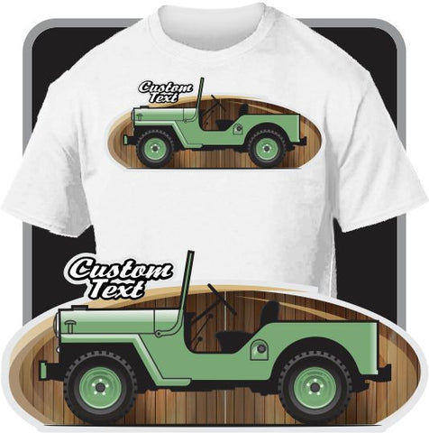 Custom Art T-Shirt for 1953 54 55 57 59 60 62 64 66 1968 Jeep Willys M606 CJ-3B