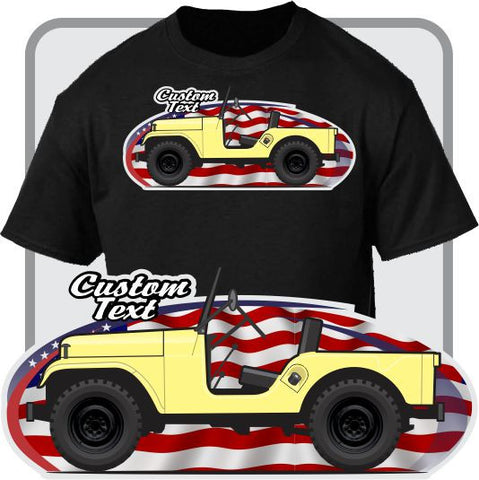 Custom Art T-Shirt 1954-83 Jeep CJ-5 6 Tuxedo Renegade II 462 Golden Eagle