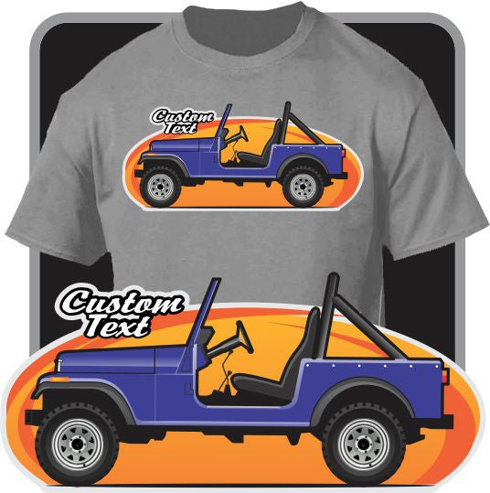 Custom Art T-Shirt 1976-86 Jeep CJ-7 Renegade Jamboree Laredo Golden Eagle