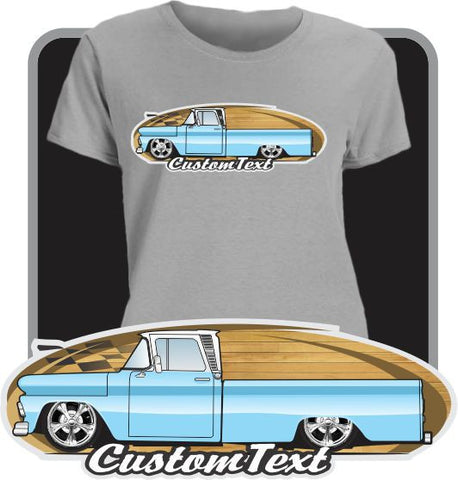 Women Custom Art T-Shirt with any car or pickup truck type