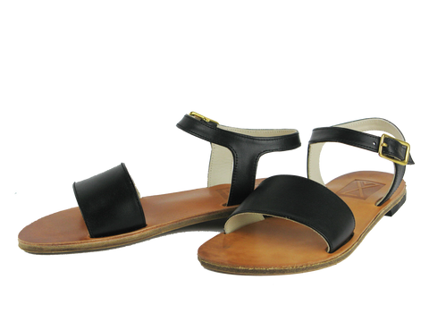 Black Italian Leather Sandals