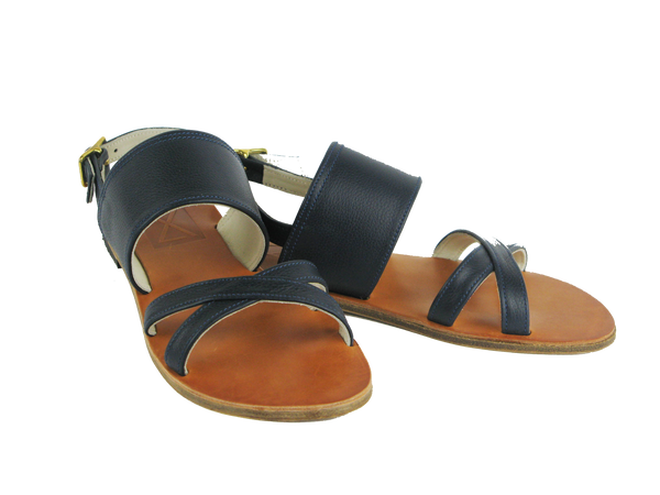 Blue Soft Calf Leather Sandals