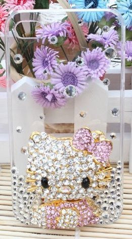 SODIAL 3D Bling Crystal Flat Back Rhinestone Pink Hello Kitty Case for Apple Iphone 4 and 4s