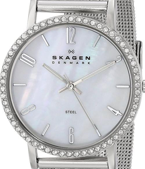 Authentic SKAGEN Denmark Ultra Slim Crystal Accented Mother Of Pearl Ladies Watch