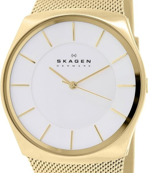Authentic SKAGEN Denmark Ultra Slim Gold Tone Mesh Band Mens Watch