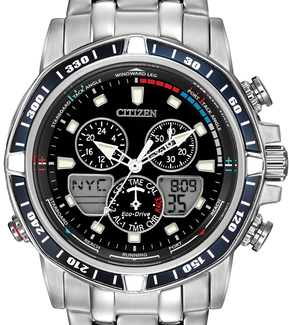 Authentic CITIZEN Eco-Drive SailHawk Alarm Chronograph Yachting World Time Mens Watch