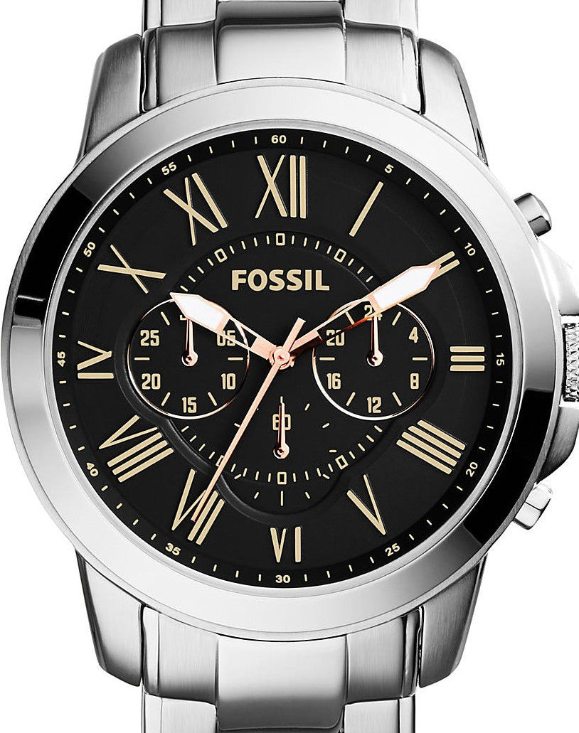Authentic FOSSIL Grant Stainless Steel Chronograph Mens Watch