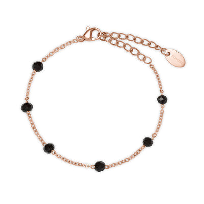 Furore FJ 2308 Rosgoldplated Stainless steel bracelet with black crystals