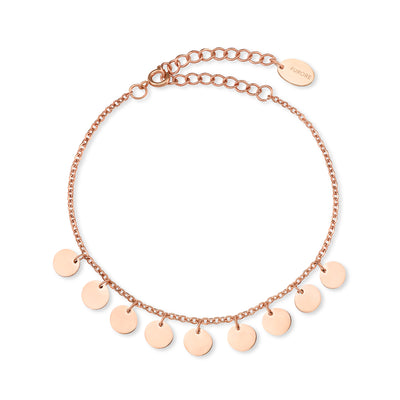 Furore FJ 2310 Rosgoldplated Stainless steel bracelet with dangling charms