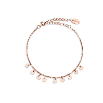 Furore FJ 2312 Rosegoldplated Stainless steel bracelet with dangling charms