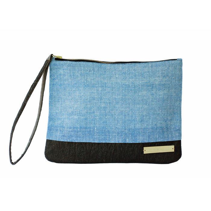 Dhaniben fair trade clutch in handwoven Kala cotton