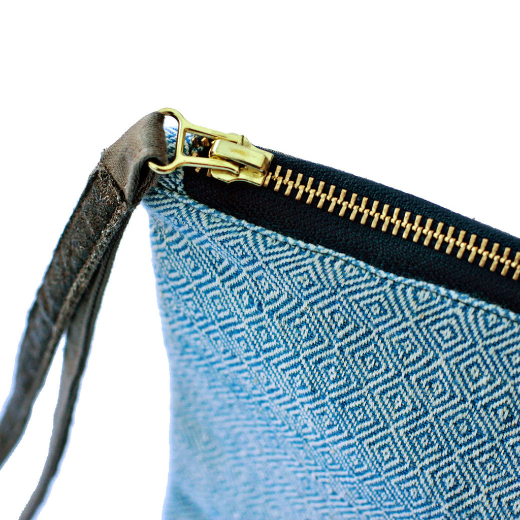 Dhaniben fair trade clutch zip detail