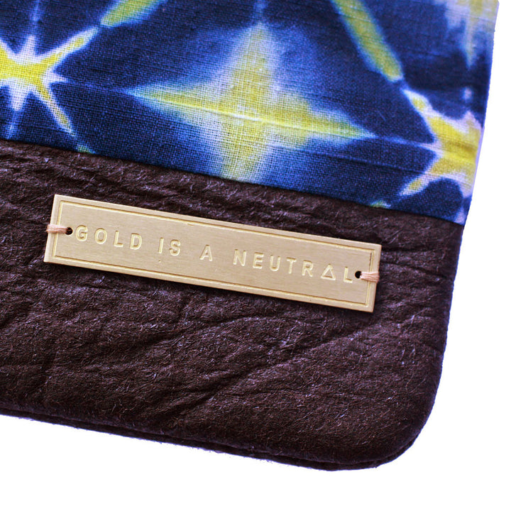 Mumtaz fair trade clutch gold tag detail