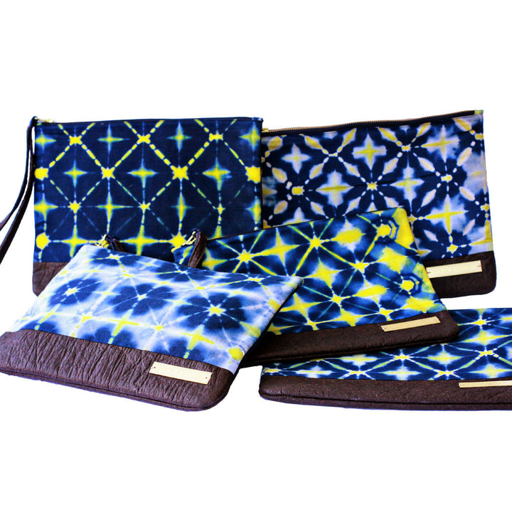 Mumtaz fair trade clutch bags variation in tie-dye effect