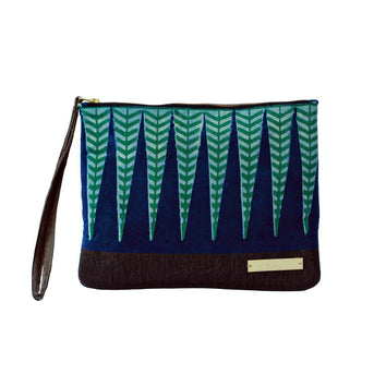 Sakina fair trade block printed clutch bag