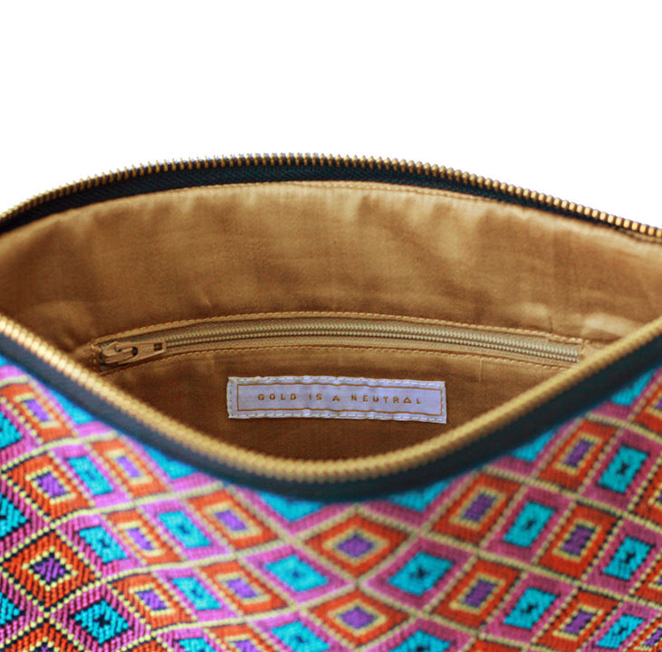 Salma fair trade clutch bag inner pocket detail