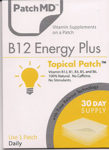 PatchMD - Vitamin B12 Energy Plus 1000mcg - Methylcobalamin Topical Patch - 30 Day Supply