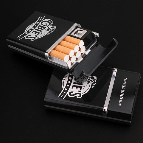 Cigarette Case with Rechargeable Electronic USB Lighter
