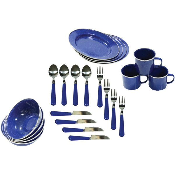 Stansport Enamel Camping 24-piece Tableware Set
