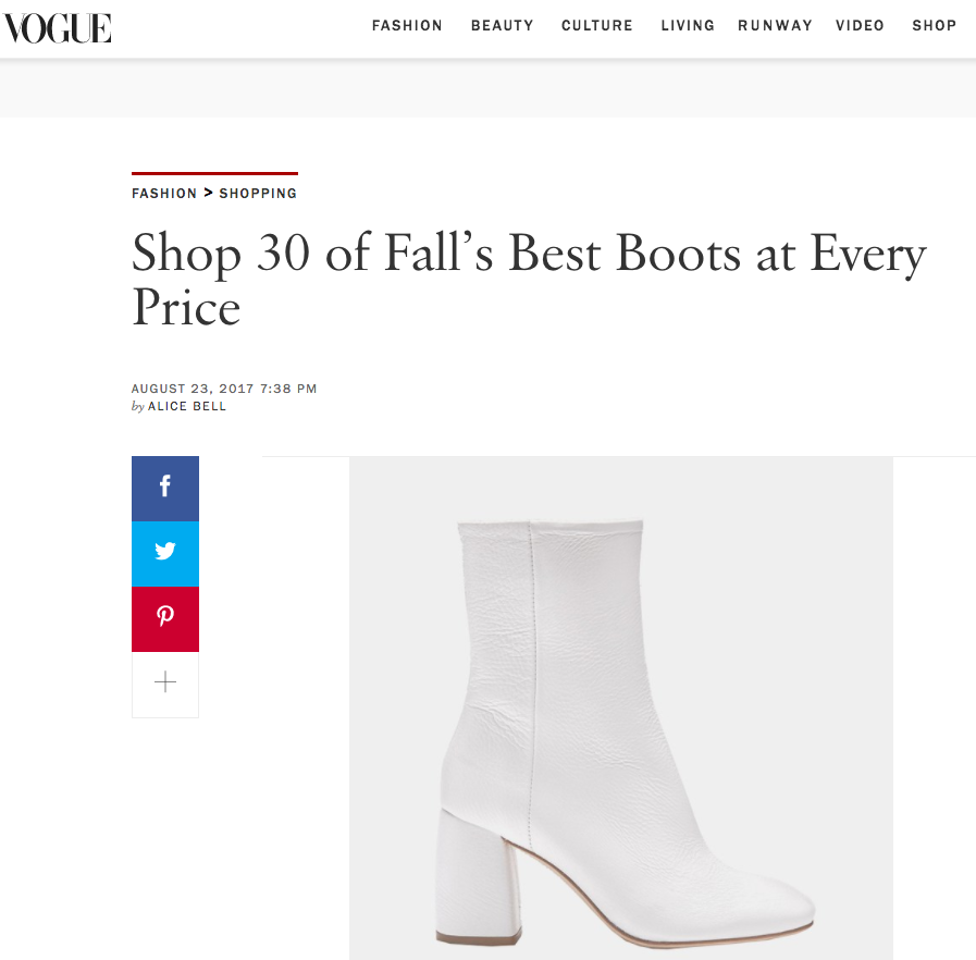 Adrianne White featured in Vogue: 30 of Fall's Best Boots