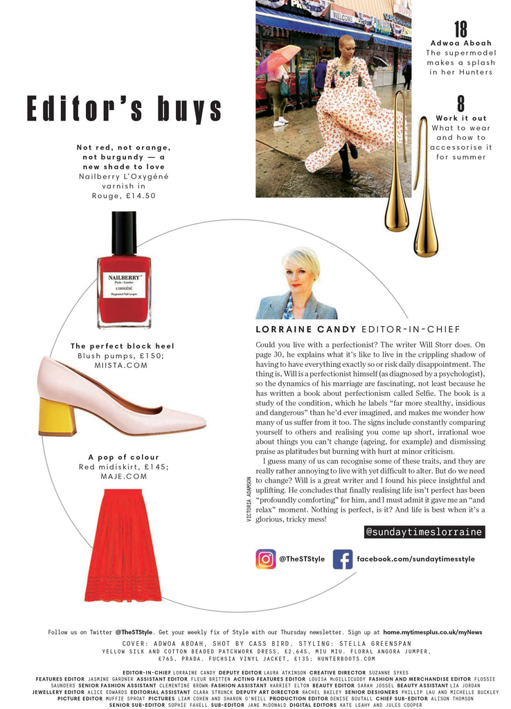 Sunday Times featuring Nicole Blush from Miista Capsule Collection: Colourful Basics