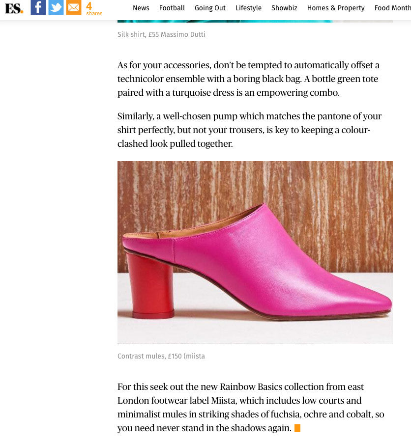 Anne Mules from our capsule collection in Evening Standard