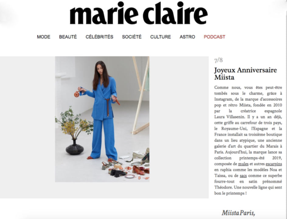 Happy Birthday Miista France from Marie Claire FR