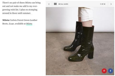 Miista SS18 Collection featuring Carlota Forest Green as seen in Refinery29