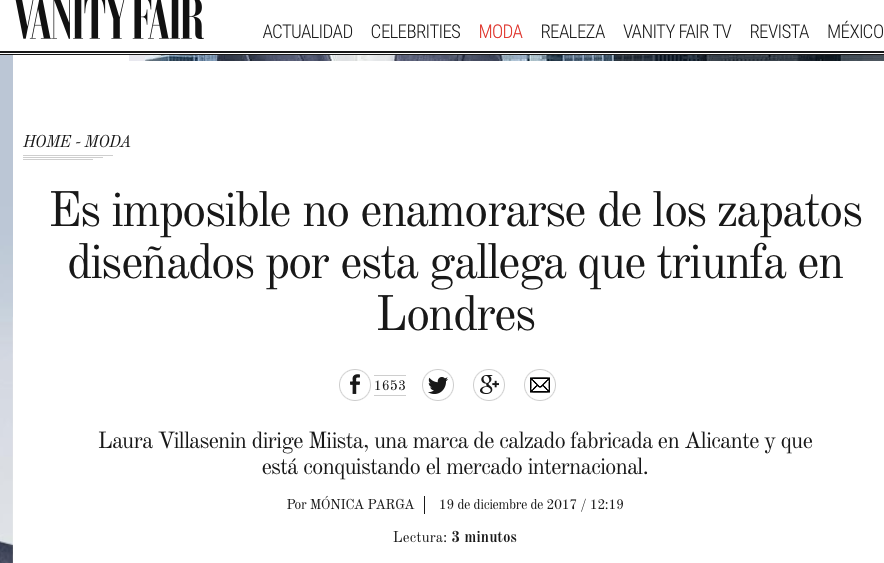 Interview with Laura Villasenin for Vanity Fair Spain Miista