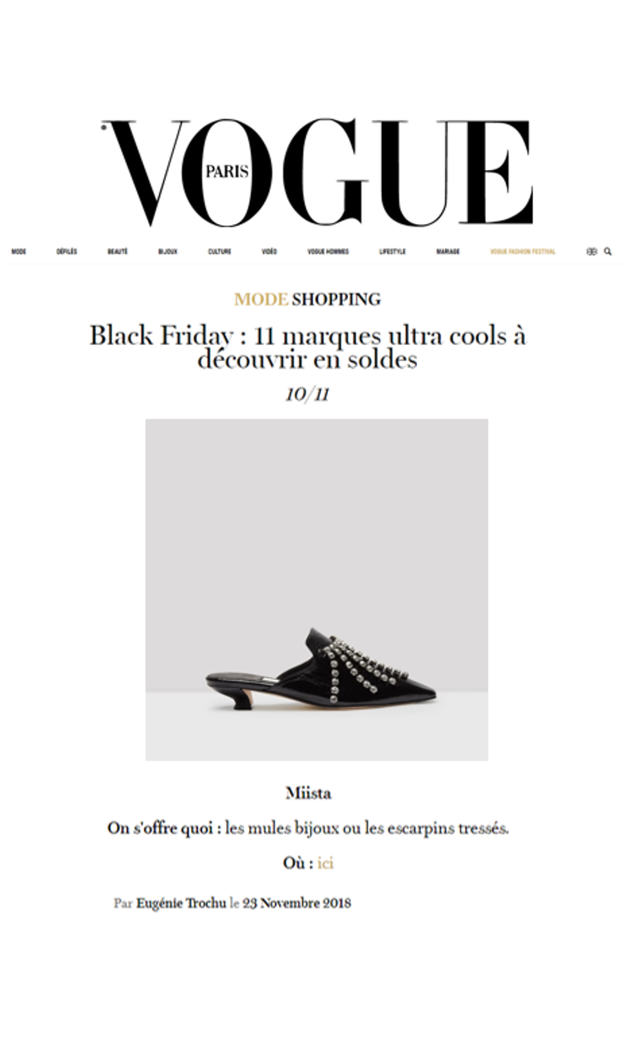Miista Claudine Mules featured in Vogue.fr