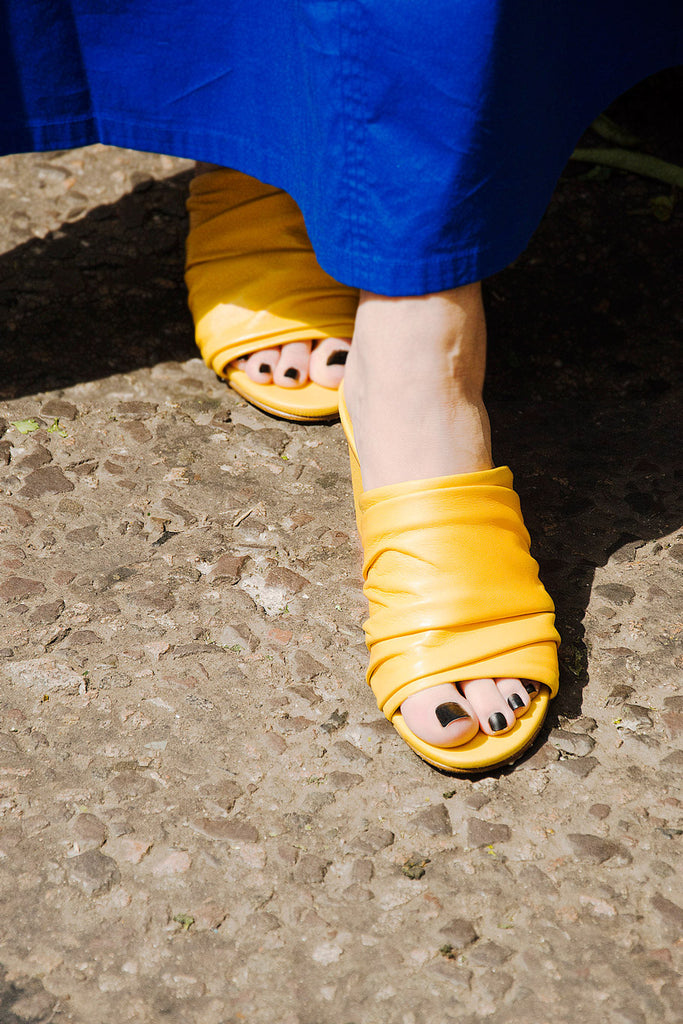 Charlize yellow mules miista capsule collection