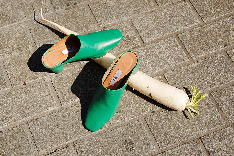 Anne mules in trebol green from Miista capsule collection SS17