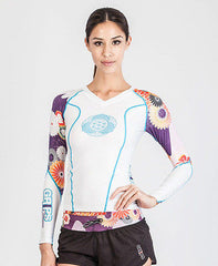 Grips Athletics Women's Power Flower Rash Guard NOGI Jiu Jitsu MMA