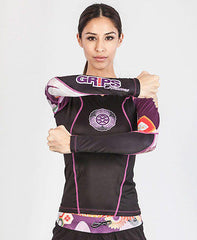 Grips Athletics Women's Power Flower Rash Guard Black NOGI Jiu JItsu MMA
