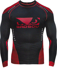 BAD BOY SPHERE COMPRESSION RASH GUARD - BLACK/RED NOGI JIU JITSU MMA