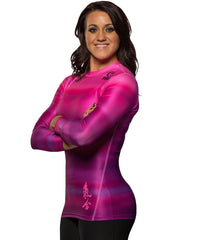 Fuji Women's Haiku Pink Jiu Jitsu Rash Guard For NOGI Grappling MMA