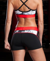 Grips Women's Athletic Compression Booty Shorts-Red Stripe