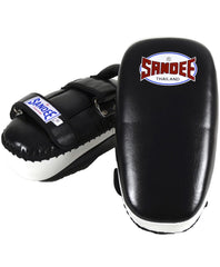 Sandee Black & White Curved Thai Leather Kick Pad