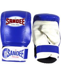 Sandee Blue/White Velcro Bag Gloves - LEATHER